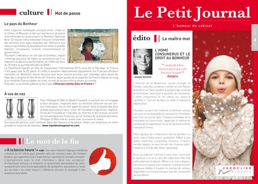 Le Petit Journal du Cabinet Varoclier Avocats n°34 – décembre2014